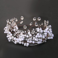 Pearl and Crystal Headband, Bridal Hair Vine, Wedding Crown Tiara, Rustic Wedding Hair Accessories, Beaded Headdress