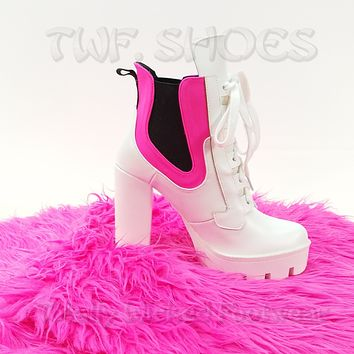 "CR Gunship White Neon Pink Lace Up 4"" Chunky Platform High Heel Ankle Boot"