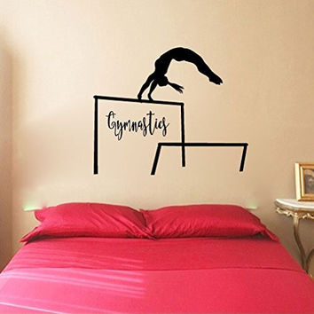 Gymnast Gymnastics and Uneven Bars Vinyl Wall Words Decal Sticker Graphic