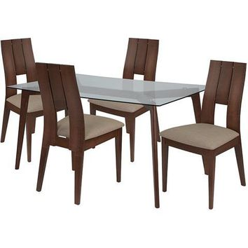 Rialto 5 Piece Walnut Wood Dining Table Set with Glass Top and Curved Slat Keyhole Back Wood Dining Chairs - Padded Seats