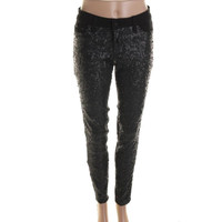 Tractr Womens Denim Sequined Jeggings