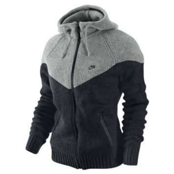 Nike Women's Wool Knit Windrunner Sweater Hoodie-Gray/black