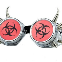 Silver and Red Bio Hazard Sign Goggles Cosplay Welder Glasses