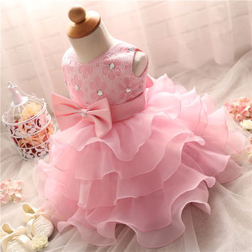 Ai Meng Baby Christening Girl Dress Kids Ruffles Lace Kids Dresses For Girls Tutu First Birthday Dress Girl Events Party Wear