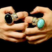 KNUCKLE ART BLACK GOLD STATEMENT RING ARTY WOMEN TRIBAL ARMOR CHUNKY JEWELRY