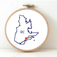 QUEBEC Map Cross Stitch Pattern. Quebec ornament pattern with Quebec city. Canada wedding gift