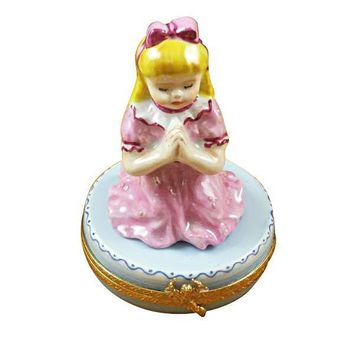 BLOND GIRL PRAYING LIMOGES BOXES