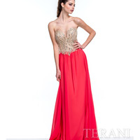 Terani 151P0027 Coral & Nude Strapless Sweetheart Gown Prom 2015
