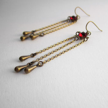 Victorian Jewelry - Long Chandelier Earrings - Ruby Red Rhinestone - Delicate Chain