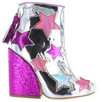 YRU - Jem Star - Silver/Glitter Multi-Color Stars Back Zip Bootie