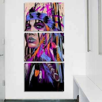 Modular Living Room Decor Framework 3 Pieces Native American Indian Painting Feathered HD Poster Canvas Pictures Prints Wall Art