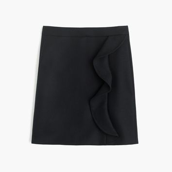 Ruffle mini skirt in double-serge wool