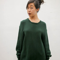 vtg 90s ralph lauren oversized green sweater, designer knit crochet dress, long sleeve shirt 1990s ironic vintage tumblr soft grunge fashion