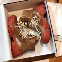 GUCCI Journey logo-appliqu¨¦d suede, leather and canvas ankle boots-1