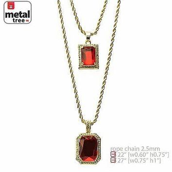 "Jewelry Kay style 14k Gold Plated Double Red Ruby 22""&27"" Combo Pendant Chain Necklace MHC 214 G"