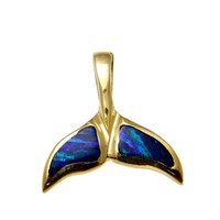 INLAY OPAL SOLID 14K YELLOW GOLD HAWAIIAN WHALE TAIL SLIDE PENDANT 20.25MM