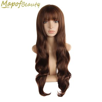 """28"""" 70cm Long wavy Heat Resistant Halloween Cosplay Wigs Natural brown grey pink purple 4colors Synthetic hair women MapofBeauty"""
