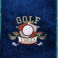 Premium Golf Crest Towel for Dad Great Gift for Fathers Day Tri Fold | PinkCloudsAndBabyBlue - Novelty on ArtFire