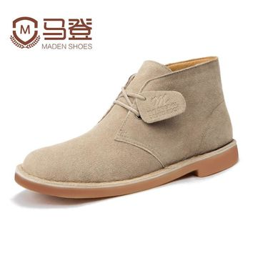 Winter Fashion Brand High-quality Men's Shoes Suede Martin Desert Boots British Style Ankle manual Men male Casual Work Shoes