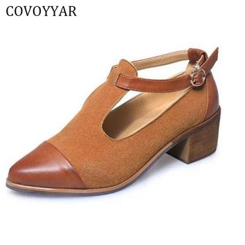 COVOYYAR 2017 Vintage Oxford Shoes Women Pointed Toe Cut Out Med Heel Patchwork Buckle Ladies Shoes Flats WFS112