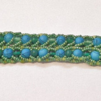 Teal Beadwork Bracelet - Teal/Turquoise and Green Seed Bead Bracelet - Double Flat Rope Design Bracelet - Patterned Bracelet