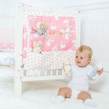 Promotion! muslin tree  Brand Baby Cot Bed Hanging Storage Bag ,Crib Organizer 60*50cm Toy Diaper Pocket for Crib Bedding Set