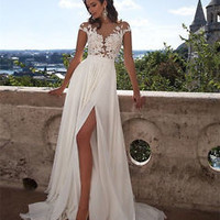 Bohemian Summer Beach Bridal Wedding Dress with Side slit Custom Size 2 4 6 8