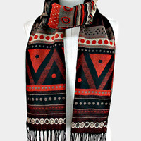 Oversized Tribal Aztec Fringed Trim Blanket Scarf - Black & Red