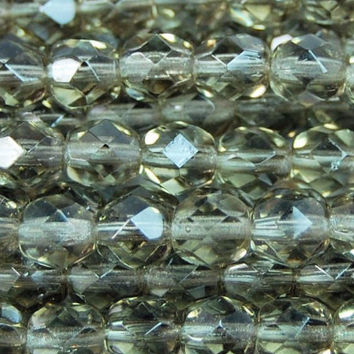 Czech Glass Beads, 6mm Faceted, Fire Polished in Black Diamond -25