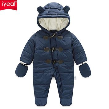 IYEAL Winter Children Baby Clothes Boys Girls Rompers Warm Thickening Hooded Infant Overalls for Newborn Clothing Kid Outwear