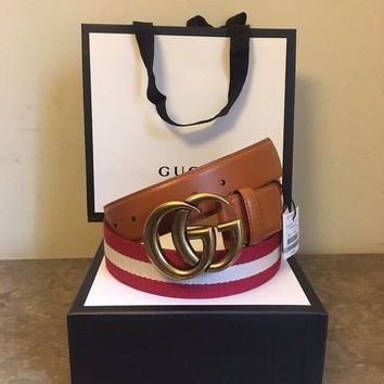 ESBONV Gucci Men's Red/Tan/Red Nylon Web Belt With Double G Buckle 105 Size 38-40