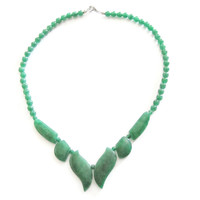 Vintage Jadeite Jade Bead Necklace