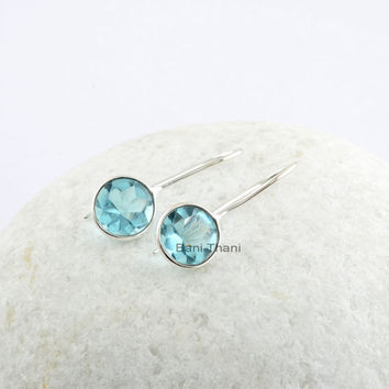 Aqua Quartz 10x10 mm Buff Top Round Sterling Silver Dangle Earring, Aqua Quartz Bridal Jewelry