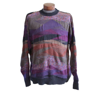 Vintage Purple Abstract 90s Sweater, Fresh Prince Cosby Save by the Bell, Size XL Unisex