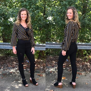 Faux Wrap Black Stripe Top