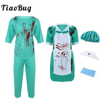 TiaoBug Adult Men Women Couple Doctor Nurse Uniform Zombie Horrible Bloody Cosplay Party Scary Carnival Halloween Dress Costume