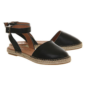 Office Kylie 2 Part Espadrille Black Leather - Flats