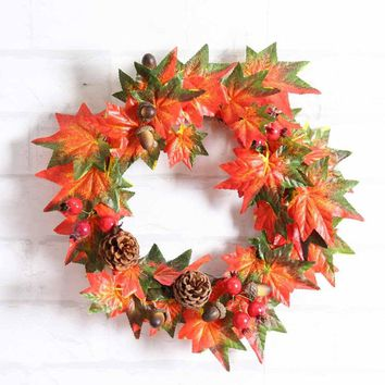Pine Fruit Maple Leaf Fall Door Wreath Door Wall Ornament Thanksgiving Day Xmas Tree Hanging Holiday Decor Girls Wreaths Props