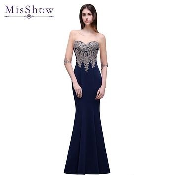 Cheap pink Navy Blue Mermaid Long Bridesmaid Dresses Half sleeved 9 colors Wedding Party Dress gold Applique prom Gown 2017
