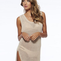 Sleeveless Knit Cutout Slit Bikini Cover-up