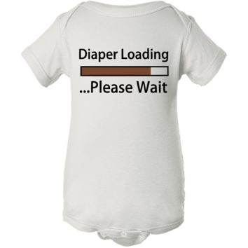 """Diaper Loading"" Baby White Creeper Onesuit"