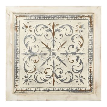 Astonishing Distressed Wood and Metal Square Wall Decor, Beige