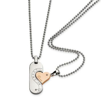 Stainless Steel Pink Plate SweetHeart Love Two Piece Necklace Set