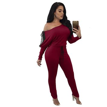 Off Shoulder Batwing Sleeves Lace Up Long Jumpsuits