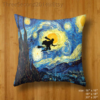 Decorative cushion Harry Potter Van Gogh Starry night painting Double Side Pillow Case cover 16 18 20 inch by ThreeSecond2014