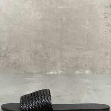 Marley Black Woven Slide Sandals
