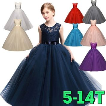Children Christening Girl Dress Kids Bow Tie Lace Long Dresses for Girls Princess Tutu Dress for Wedding Party Events Wear
