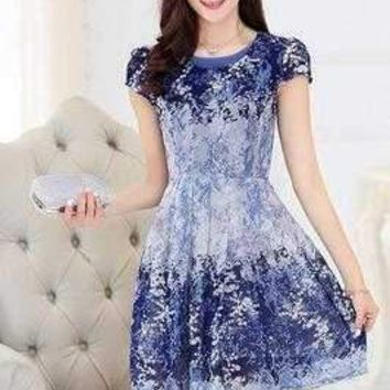 Short Sleeve Floral Dress