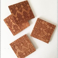 Lace Embossed Coasters | Set of 6