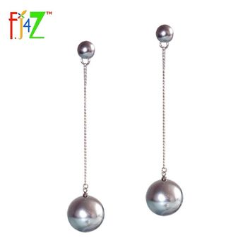 F.J4Z 2016 Hot Fashion Designer Exquisite Elegant Gray Pearl Dangle Cocktail Statement Earrings for woman collier Bijoux